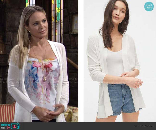 Wrap-Front Cardigan by Gap worn by Sharon Collins (Sharon Case) on The Young & the Restless