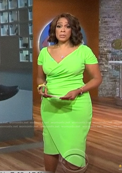Gayle's green short sleeve wrap dress on CBS This Morning