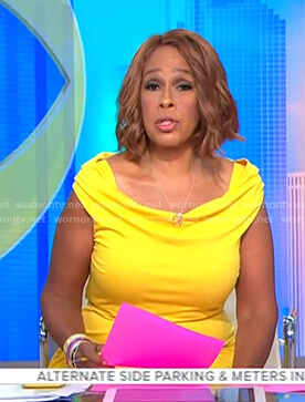 Gayle's yellow off-shoulder dress on CBS This Morning