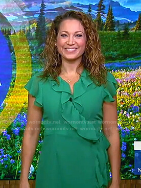 Ginger's green ruffle wrap dress on Good Morning America