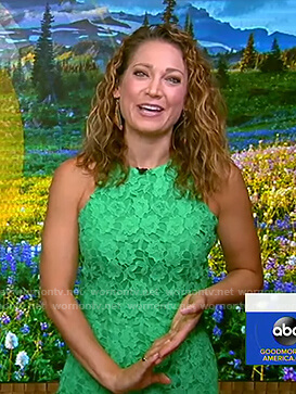 Ginger's green sleeveless lace dress on Good Morning America