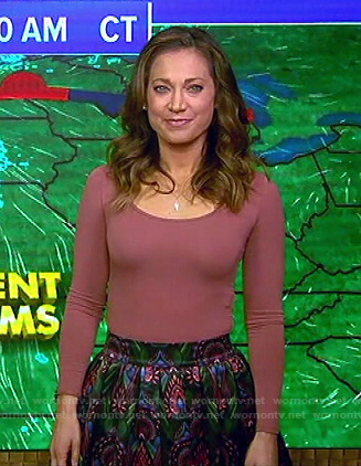 Ginger's pink top and print mini skirt on Good Morning America