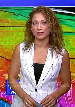 Ginger's white grid check vest on Good Morning America