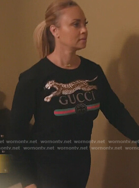 Gizelle's black Gucci sweater on The Real Housewives of Potomac