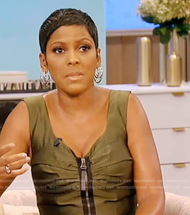 Tamron's green zip front dress on Tamron Hall Show