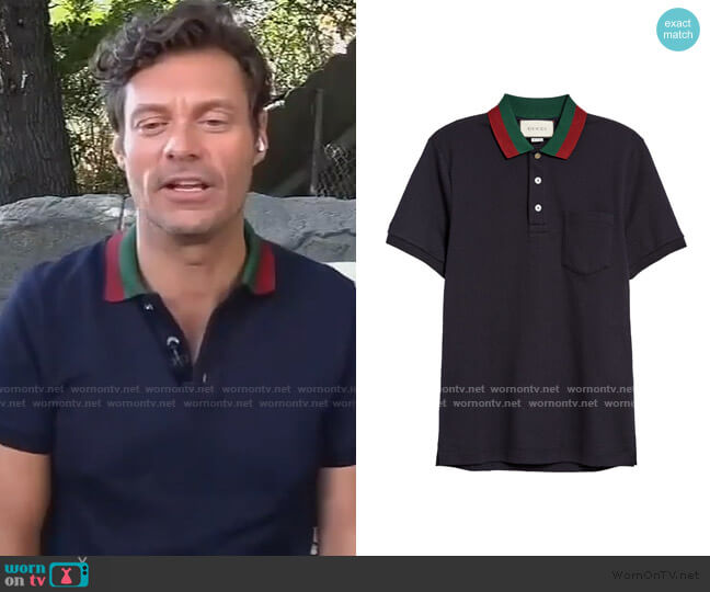 Cotton Polo with Web Collar by Gucci worn by Ryan Seacrest on Live with Kelly and Ryan