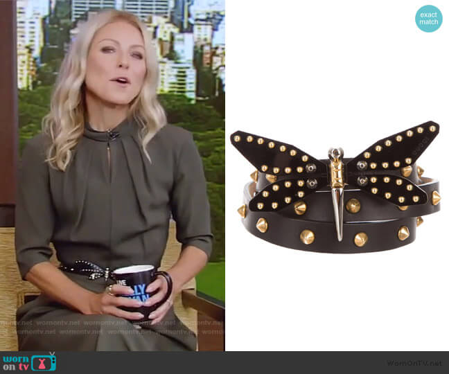 Studded Dragonfly Belt by Gucci worn by Kelly Ripa  on Live with Kelly & Ryan