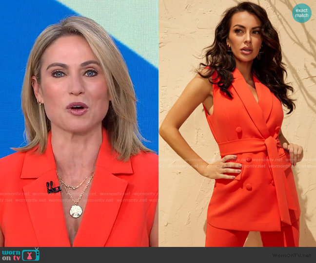 Bethanisa Sleeveless Blazer by Guess worn by Amy Robach  on Good Morning America