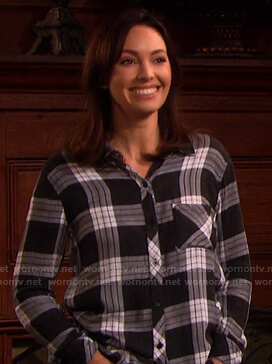 Gwen's black plaid shirt on Days of our Lives