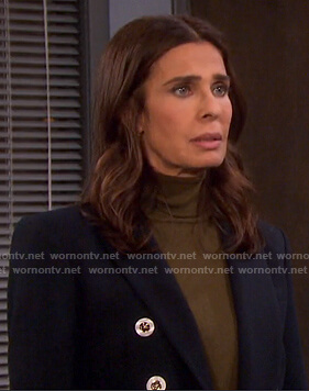 Hope's navy blazer with white buttons on Days of our Lives