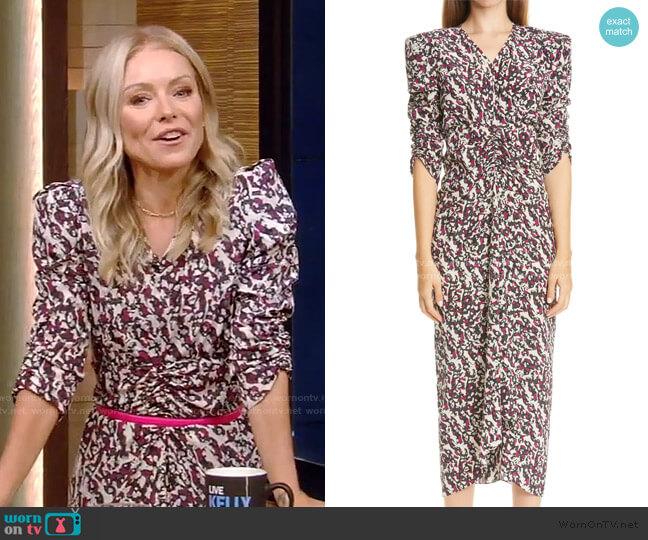 Print Ruched Ruffle Stretch Silk Midi Dress by Isabel Marant worn by Kelly Ripa  on Live with Kelly & Ryan