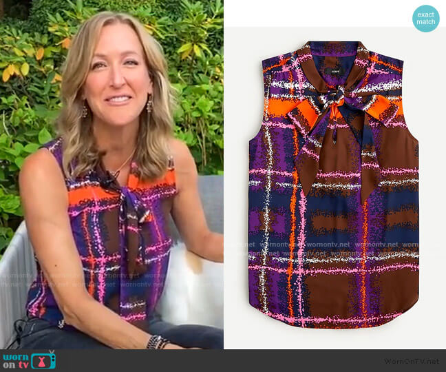 Tie-Neck Blouse in Speckled Plaid by J. Crew worn by Lara Spencer  on Good Morning America