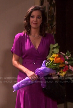 Jan's purple belted midi dress on Days of our Lives