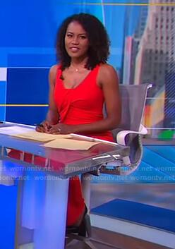Janai's red sleeveless draped jumpsuit on Good Morning America