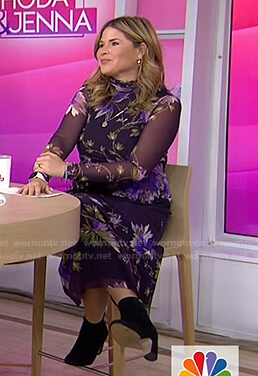 Jenna's black floral dress with sheer sleeves on Today