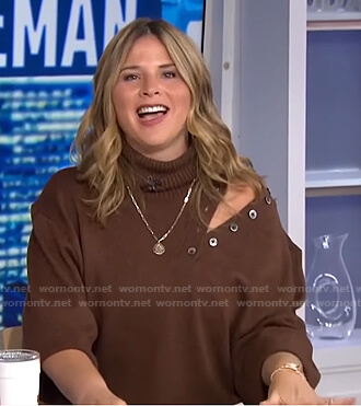 Jenna's brown buttoned cutout sweater on Today