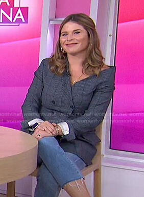 Jenna's grey check one-shoulder blazer on Today
