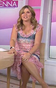 Jenna's pink floral ruffle midi dress on Today