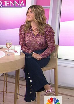 Jenna's burgundy floral tie neck blouse on Today