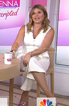 Jenna's white button front v-neck jumpsuit on Today