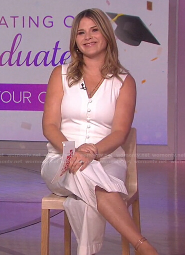 Jenna's white button front v-neck jumpsuit on Today