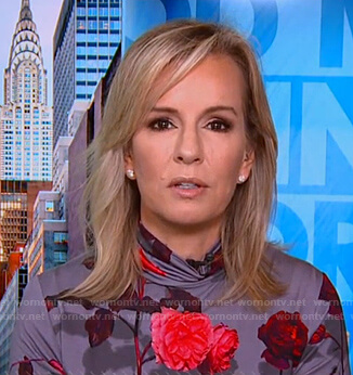 Dr. Jennifer Ashton's grey floral turtleneck top on Good Morning America