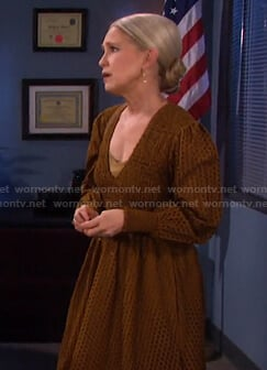 Jennifer's brown eyelet v-neck dress on Days of our Lives