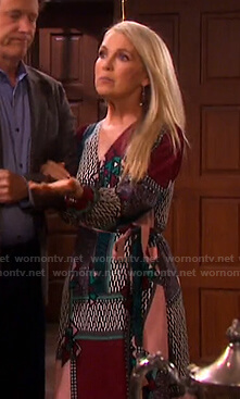 Jennifer's mixed print wrap maxi dress on Days of our Lives