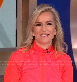 Dr. Jennifer Ashton's pink ribbed turtleneck sweater on Good Morning America