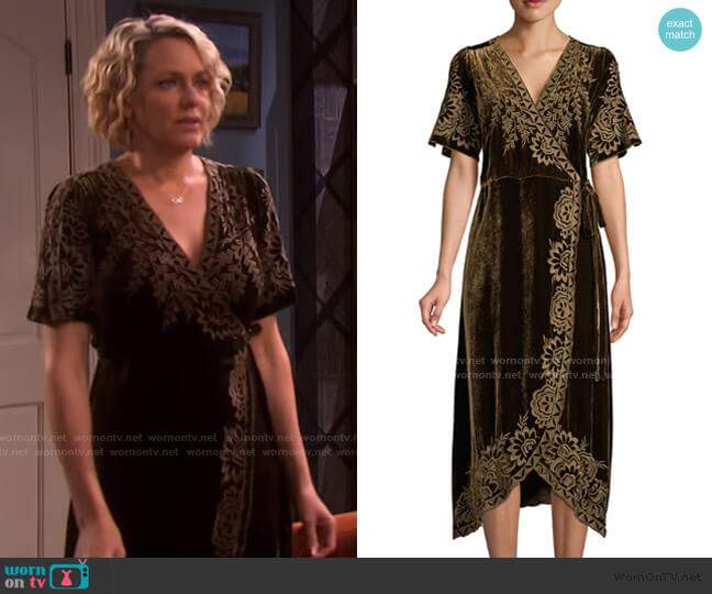 Mina Embroidered Velvet Wrap Dress by Johnny Was worn by Nicole Walker (Arianne Zucker) on Days of our Lives