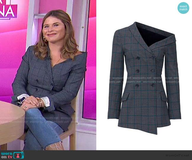 Glen Plaid One Shoulder Jacket by Jonathan Simkhai worn by Jenna Bush Hager  on Today