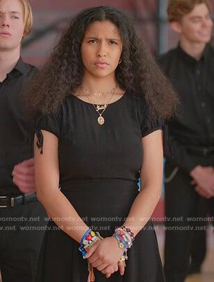 Julie's black tie sleeve mini dress on Julie and the Phantoms