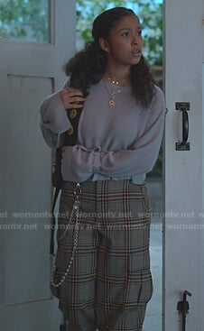 Julie's lilac tie cuff sweater and grey plaid pants on Julie and the Phantoms