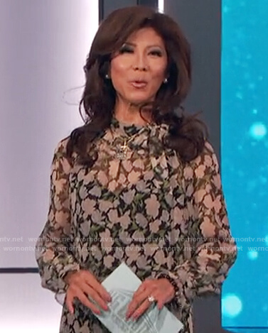 Julie's floral print tie neck blouse on Big Brother