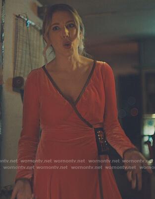 Katherine's red velvet embellished wrap dress on The Duchess