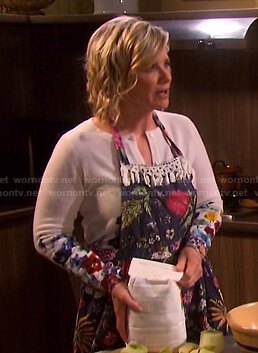 Kayla's white floral cardigan on Days of our Lives