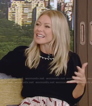 Kelly's black embellished sweater and print skirt on Live with Kelly and Ryan