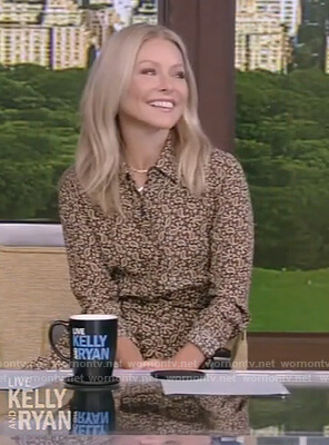Kelly's brown paisley print shirtdress by Live with Kelly and Ryan