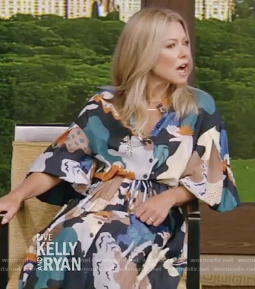 Kelly's multicolored printed shirtdress on Live with Kelly and Ryan