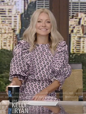 Kelly's printed ruffle dress on Live with Kelly and Ryan