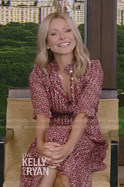 Kelly's red printed elbow sleeve dress on Live with Kelly and Ryan