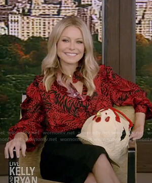 Kelly's red tiger print blouse on Live with Kelly & Ryan