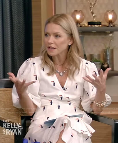 Kelly's white embroidered wrap dress on Live with Kelly and Ryan