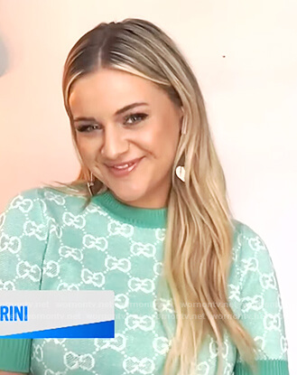 elsey Ballerini's turquoise Gucci sweater on E! News Daily Pop