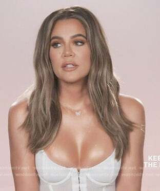 Khloe's white bustier top on Keeping Up with the Kardashians