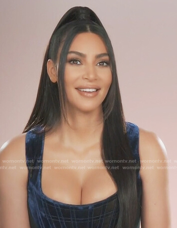 Kim's blue velvet corset top on Keeping Up with the Kardashians