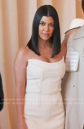 Kourtney's white strapless dress on Keeping Up with the Kardashians