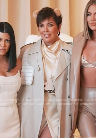 Kris's satin dress and beige trench coat on Keeping Up with the Kardashians