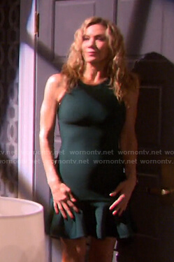 Kristen's green sleeveless ruffle dress on Days of our Lives