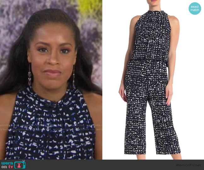 Skyler Cropped Print Jumpsuit by Leota worn by Sheinelle Jones  on Today